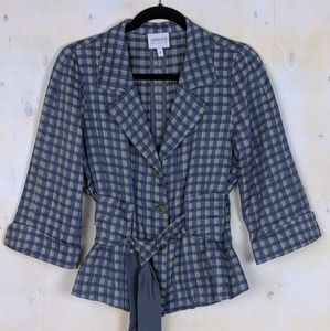 Armani Collezioni blazar short jacket plaid tie